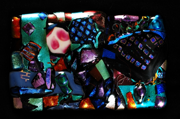 Multi-color large glass piece, that was framed in shadow box